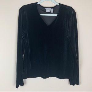 Old Navy Collection Black Velvet Long Sleeve Shirt